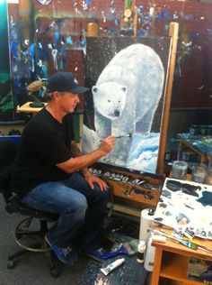 Wyland painting a polar bear. Possible 4th quarter 2015 Water Gallery image.  #mywatergallery #wyland