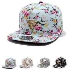 Floral Flower Snapback Hip-Hop Flat Peaked Adjustable Baseball Cap. Moda  FloralChavas Con GorraRopa De MujerGorras ... 90374b73d1b