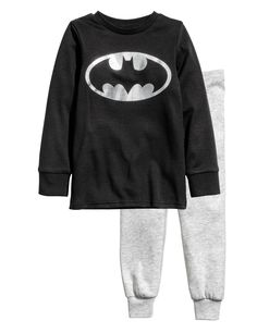 Check this out! Pajamas in soft cotton jersey with a printed design. Long-sleeved top with ribbing at neckline and cuffs. Pants with elasticized waistband and ribbed hems. WEAR SNUG-FITTING, NOT FLAME RESISTANT. - Visit hm.com to see more.