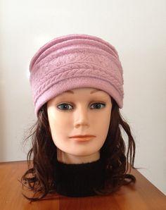 Chapeau en laine bouillie pour dame couleur rose ancien avec