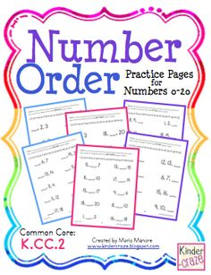 GIVEAWAY!!!  Before, Between, After: Number Order Practice Pages for Numbers 0-20