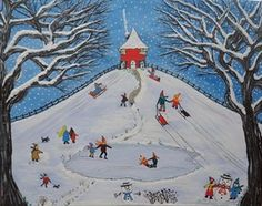 Red House On the Hill in Winter by Julie Stevenson