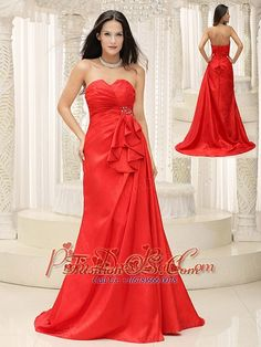 Sweetheart brush train Red Mother Of The Bride Dress fashionos