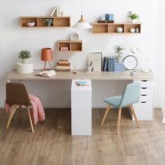 Playful and dynamic Craft Room Design, Kids Room Design, Home Office Design, Home Office Decor, Kids Study Spaces, Twin Beds For Boys, Desk Dividers, Kids Workspace, Kids Room Furniture