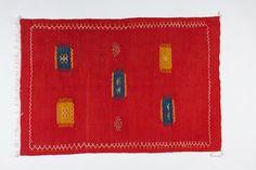 Minimalistic Red Moroccan Rug