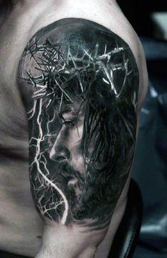 Tattoos Arm Mann, 3d Tattoos, Celtic Tattoos, Tribal Tattoos, Portrait Tattoos, Tatoos, Wing Tattoos, Jesus Tattoo Design, Design Tattoo