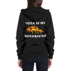Pizza is my Boyfriend Flex Fleece Zip Hoodie ($43) ❤ liked on Polyvore featuring tops, hoodies, fleece hoodie, zip up hoodies, zipper hoodie, boyfriend hoodie and fleece hoodies