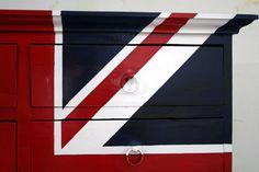 "Union Jack Dresser. Hand lacquered, ""pop finish"" / Decorative Painting / Alder Estudio"