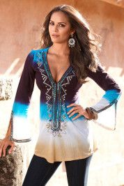 Our Turquoise Cleavitz would be a perfect match for this Boston ProperOmbre embellished tunic!