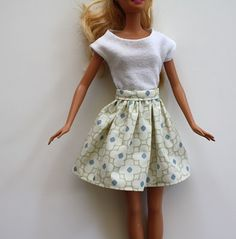 Froufy Barbie Skirt Tutorial (will use scraps from child's skirt to match)  I still have MY original Barbie doll and hand made garments. The fabric scraps used to create the garments bring back memories.