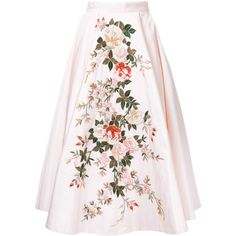 Eavis & Brown embroidered full midi skirt ($5,510) ❤ liked on Polyvore featuring skirts, silk midi skirt, high waisted full skirt, floral skirt, high-waisted skirts and midi skirt