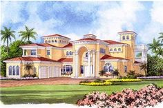 This extraordinary luxury home with Mediterranean influences (Plan #107-1219) has over 7890 sq ft of living space. The two story floor plan includes 5 bedrooms.