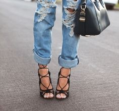 Strappy stilettos + destroyed boyfriend jeans.