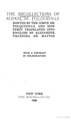 The Recollections of Alexis de Tocqueville - Alexis de Tocqueville - Google Books