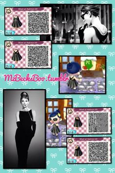 Kinda like Audrey's dress in Breakfast at Tiffany's, -ish Enjoy the code :) - Animal crossing - Animal Crossing 3ds, Animal Crossing Qr Codes Clothes, Animal Games, My Animal, Slytherin, Motif Acnl, Ac New Leaf, Happy Home Designer, Breakfast At Tiffanys