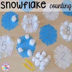 Winter Themed Activities and Centers (Snowman at Night Freebie too)! - Pocket of Preschool Snowflake Counting (from Pocket of Preschool)