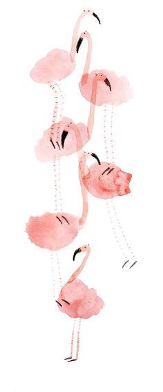 Watercolor art of Pink flamingos