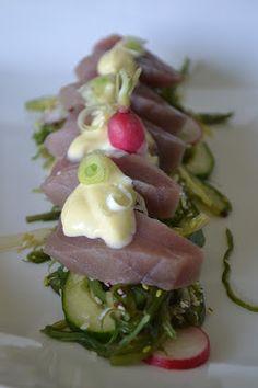 Mijn kookavonturen: Rauwe tonijn met zeewiersalade en wasabimayonaise