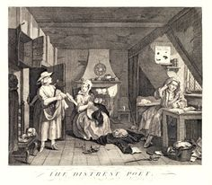Etched engraving on paper entitled 'THE DISTREST POET' by William Hogarth, issued in London in 1741 from a plate dating from 1740.