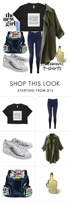 """Fxxk it !"" by neelanjana-rumbangsha-railepcha on Polyvore featuring 7 For All Mankind, adidas Originals, Current Mood, PINTRILL, In Your Dreams and statementtshirt"