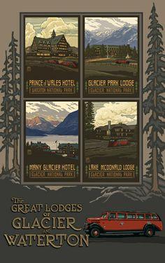 PAL-3208 Glacier National Park Glacier Lodge Collage - Northwest Art Mall
