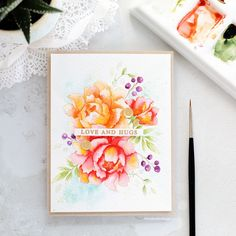 Watercoloured peonies handmade card by Debby Hughes using Altenew Peony Bouquet stamp set. Flower Stamp, Flower Cards, Watercolor Cards, Floral Watercolor, Watercolour, Card Making Inspiration, Making Ideas, Handmade Card Making, Handmade Cards