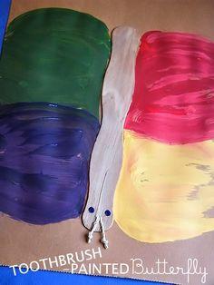 Toothbrush-Painted Butterflies #kidcrafts #sponsored