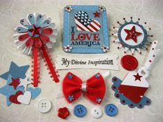 Americana Patriotic Paper Embellishments by mydivineinspiration, $4.85