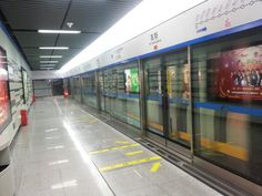 The new subway in Chengdu has glass walls by the tracks for safety