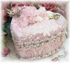 Beautiful Pink Lacy Pearl Heart Box like I made for my Mother ~ It was gorgeous ~