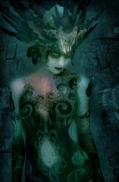 Darqueness and Light Fairy Make-up, Fairy Art, Dark Fantasy, Fantasy Art, Fantasy Figures, Green Fairy Absinthe, Musa, Art Music, Black Art