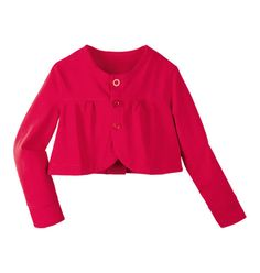 3-button closure in front. Bolero style. Machine wash. Cotton, spandex. Imported.  Party Cardi