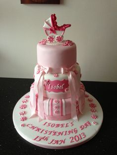 Christening cake with pram