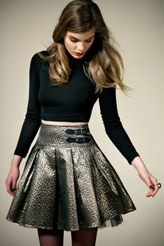Brocade Pleated Prom Skirt
