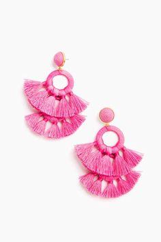 Tango Earrings in Perfect Pink by Tuckernuck - Tnuck Black Earrings, Clip On Earrings, Fringe Earrings, Dream Catcher White, Dream Catcher Earrings, Perfect Pink, Bridesmaid Gifts, Bridesmaids, Preppy
