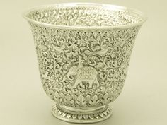 Antique Indian Silver Vase (Bhuj, Kutch, India)