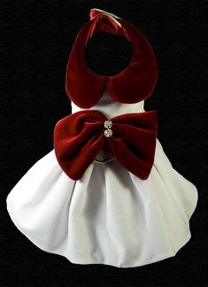 Couture White Velvet Dog Dress Red Velvet