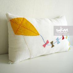 Sukan / Yellow Kite White Linen Pillow Cover - Lumbar Pillow Cover - 12x20 inch. $50,00, via Etsy.