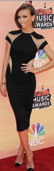 Who made Giuliana Rancic's black dress and clear cap toe pumps?