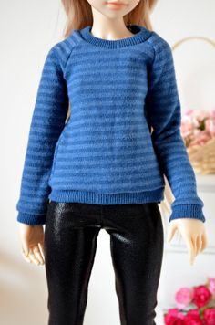 Blue stripe sweater for minifee, unoa, and similar sized slim msd bjds