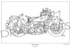 Vintage Original Handmade Art Print  INDIAN 640B 1942 by drawspots #motorcycle #art #gift #giftforhim #gift #birthday #valentine #valentinesday #drawing