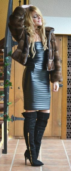 Ribbed black leather dress and OTK boots
