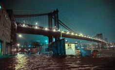 The Manhattan Bridge spans not only the East River but also flooded streets in the Dumbo section of Brooklyn- from Superstorm Sandy