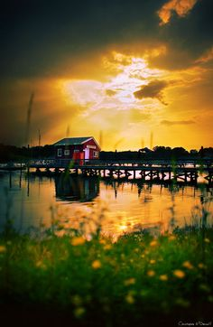 Thomaston Pier at sunset, the result of exposure blending three different brackets.