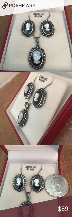Set STERLING NATURAL BLACK ONYX CAMEO MARCASITE Set 925 STERLING SILVER NATURAL BLACK ONYX LADY CAMEO MARCASITE Necklace and earrings vintage ❤️ Jewelry Necklaces