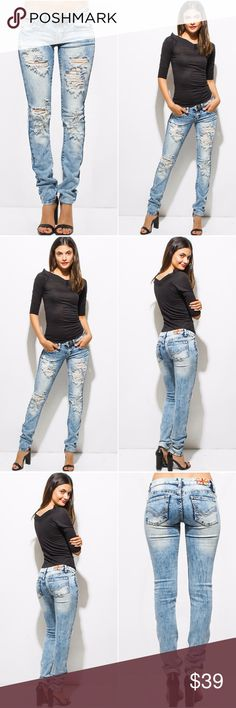 """💎 NEW Light Blue Washed Destroyed Jeans New distressed / destroyed skinny jeans in light blue.  97% Cotton / 3% Spandex Has stretch to them.  Model is 5' 7"""" wearing size 1. True to size  Size 3:   Waist 27"""", Inseam 31"""", Rise 7"""" Size 5:   Waist 28"""", Inseam 31"""", Rise 7"""" Size 7:   Waist 29"""", Inseam 31"""", Rise 7"""" Size 9:   Waist 30"""", Inseam 31"""", Rise 7.5"""" Size 11: Waist: 31"""", Inseam 31.5"""", Rise 8"""" Jeans Skinny"""