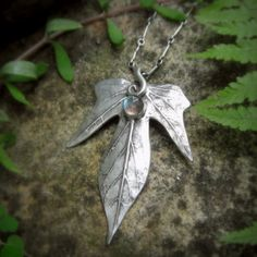 Elven Leaf Necklace With Labradorite Made With a by SilvanArts