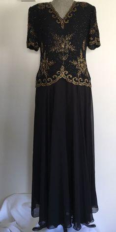 Laurence Kazar Dress Size XL Black Gold Beaded Long Formal Short Sleeve #LaurenceKazar