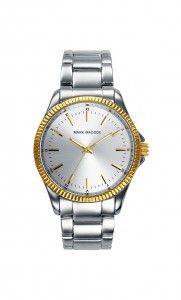Colección Timeless luxury - HM0003-17. Reloj tres agujas brazalete con esfera color plata y bisel dorado. Cierre desplegable. Cristal mineral. Impermeable 30m (3ATM). Precio: 49,00 €