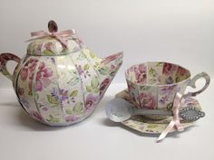 Gorgeous 3D teacup and teapot made by Tracey. Both from the TEA FOR YOU AND ME SVG KIT. Great for a Mother's Day gift or birthday.